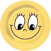 Party-Pappteller rund  Ø 23cm, bunt - Design SMILEY, 10 Stk.