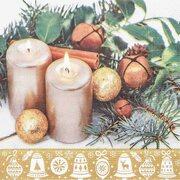 Weihnachtsservietten 3-lagig 33 x 33 cm Kerzen, 20 Stk.