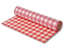 Biertischdecke mit Leinenstruktur rot/weiss, sehr stabil, 0,75 x 100m