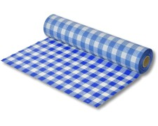 Biertischdecke mit Leinenstruktur blau/weiss, sehr stabil, 0,75 x 100m