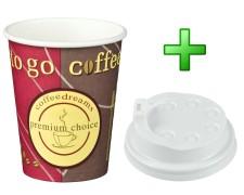 Kaffeebecher Coffee ToGo COFFEE DREAMS mit Deckel weiß  8oz. 200 ml, 50 Stk.