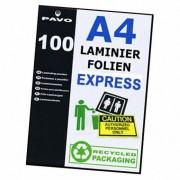 PAVO EXPRESS-Laminierfolien A4, 216 x 303mm, 2x  75/80 mic,  100 Stk.
