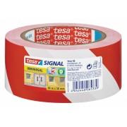 TESA Signal- Markierungs- und Warnband rot/weiß 58134, 50mm x 66 Meter
