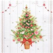 Weihnachtsservietten 3-lagig 33 x 33 cm Weihnachtsbaum, 20 Stk.