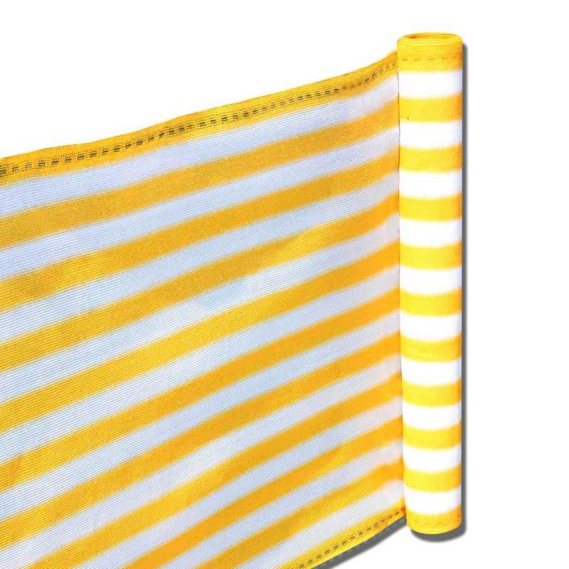 balkon terrassen sichtschutz 90cm x 5m gelb wei wetterfest uv schutz langlebig. Black Bedroom Furniture Sets. Home Design Ideas