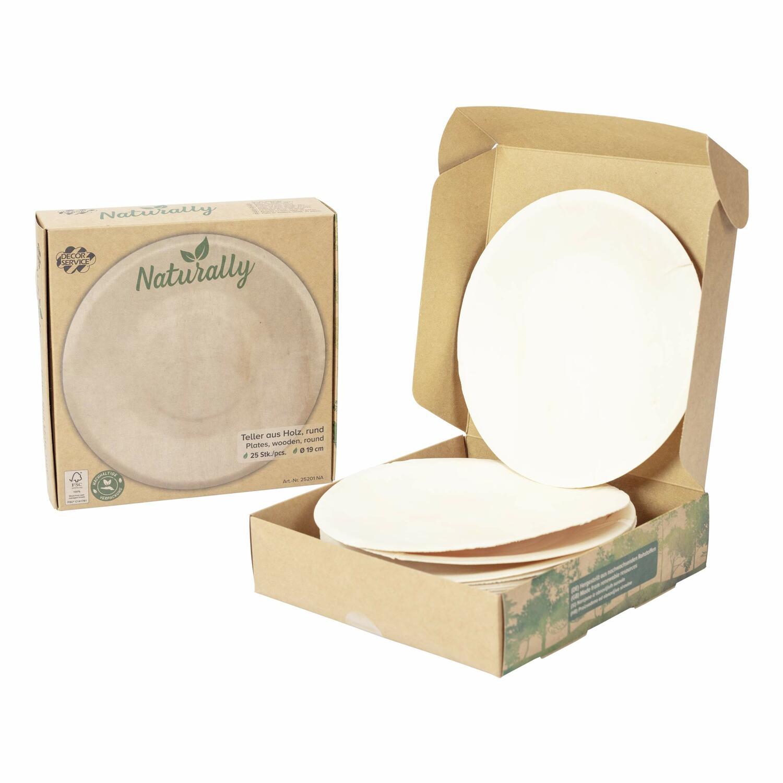 Holzteller Einwegteller aus Pappelholz rund Ø19cm FSC® nachhaltig, 25 Stk.