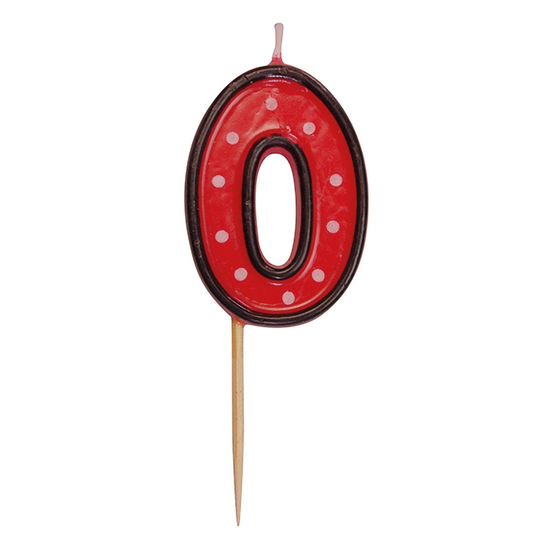 Zahlenkerze, Geburtstagskerze 0 rot, ca. 85 mm