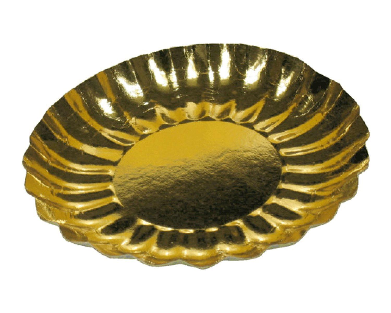 Pappteller rund gold 21 cm Durchmesser, Rand wellig, 25 Stk.