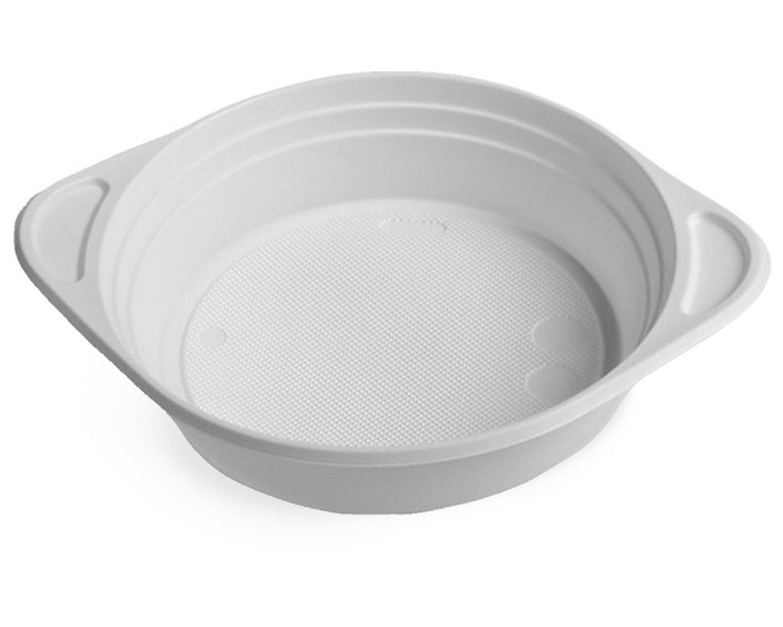 Suppenterrine Suppenteller weiß aus PS, 350 ml, mit Anfasser, 100 Stk.