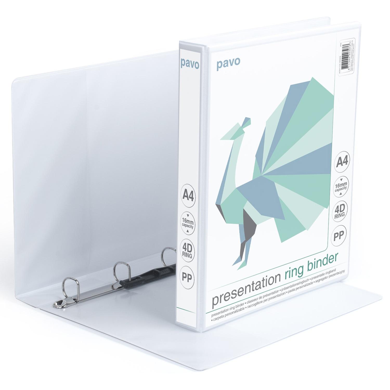 Präsentationsringordner A4, 16 mm Kapazität, weiß, mit Außentaschen