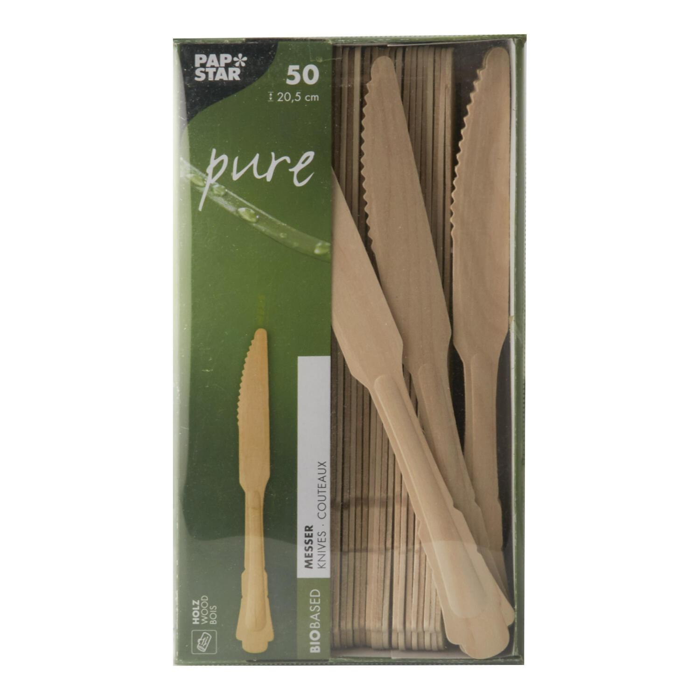 Holzmesser pure 20,5 cm natur in schönen Vintage Design, 50 Stk.