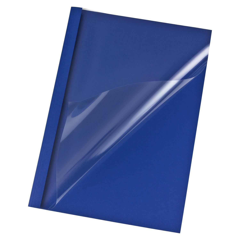 Thermobindemappen A4,  6mm für 60 Blatt, Lederoptik dunkelblau,  25 Stk.