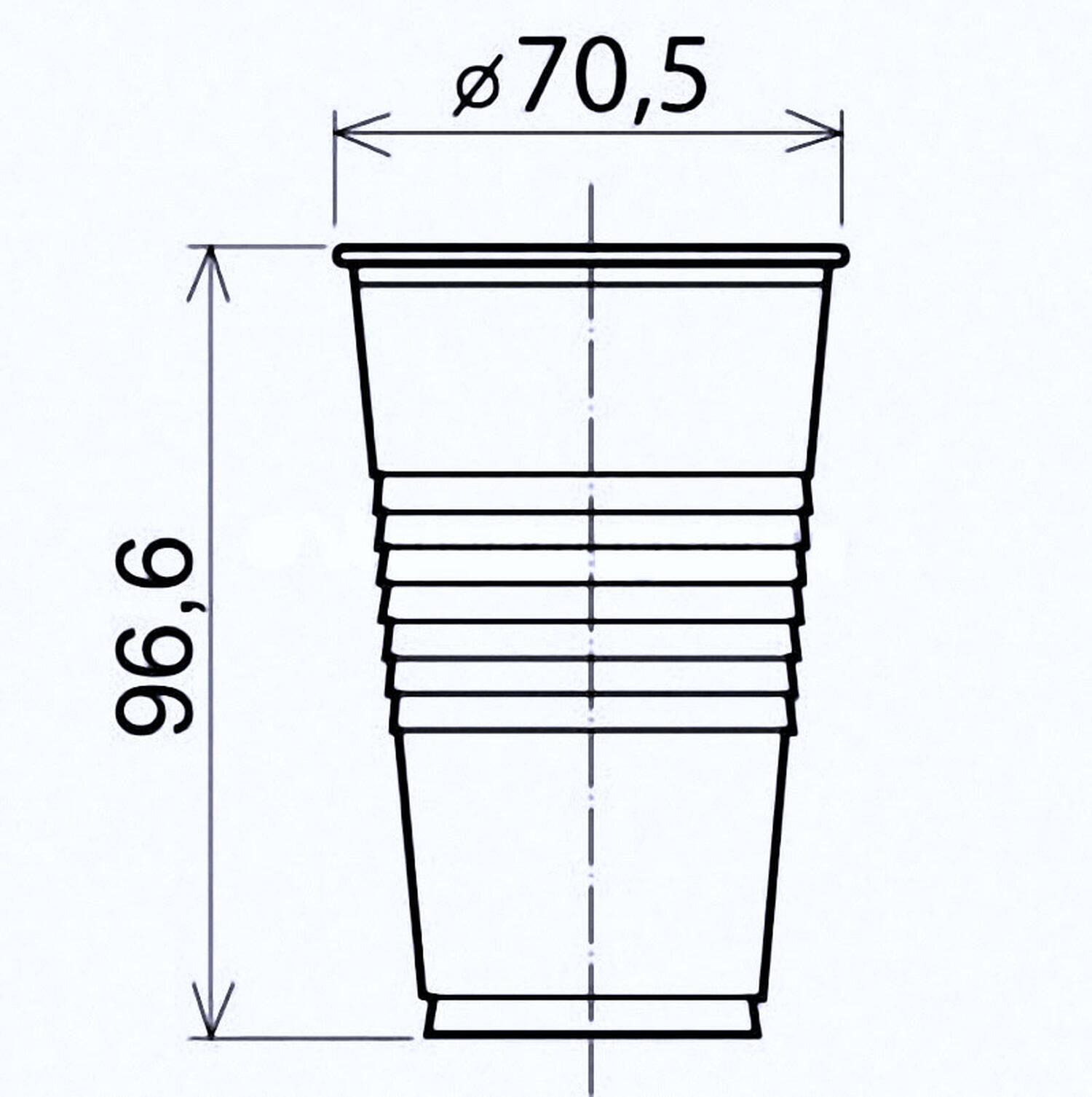 Trinkbecher transparent klar 0,2 l, 200 ml, PP, Ø 70 mm, 100 Stk.