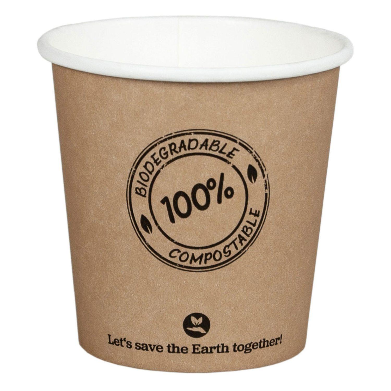 BIO Kartonbecher Kaffeebecher CoffeeToGo PLA bis 100°C, 100ml, Ø6.2cm, 50 Stk.