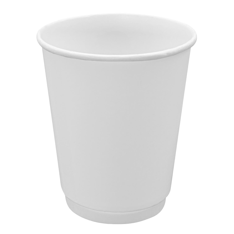 Doppelwandbecher für Heiß- und Kaltgetränkebecher weiß 300 ml 350 ml, 25 Stk.