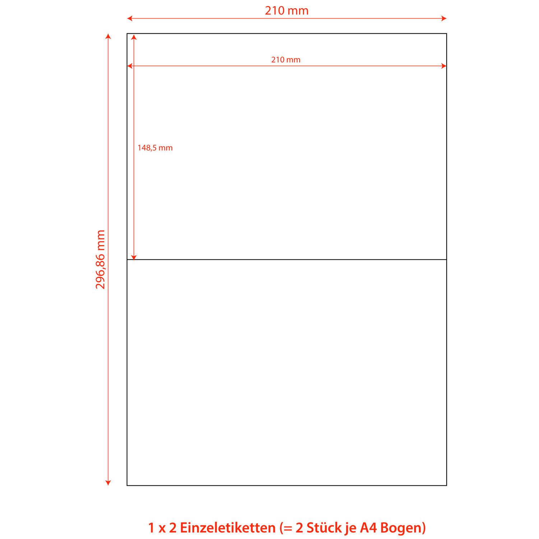 Etiketten Labels selbstklebend weiß 210 x 148.5mm auf DIN A4, 200 Stk.