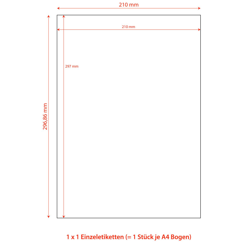 Etiketten Labels selbstklebend weiß 210 x 297mm auf DIN A4, 100 Stk.