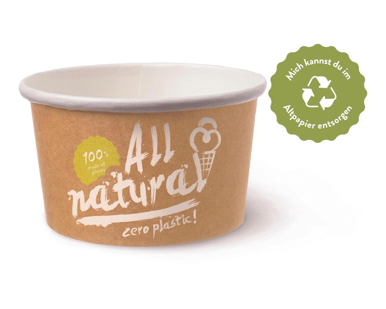 BIO Eisbecher Pappe FSC® 500 ml ALL NATURAL ohne Kunststoffbeschichtung, 50 Stk.