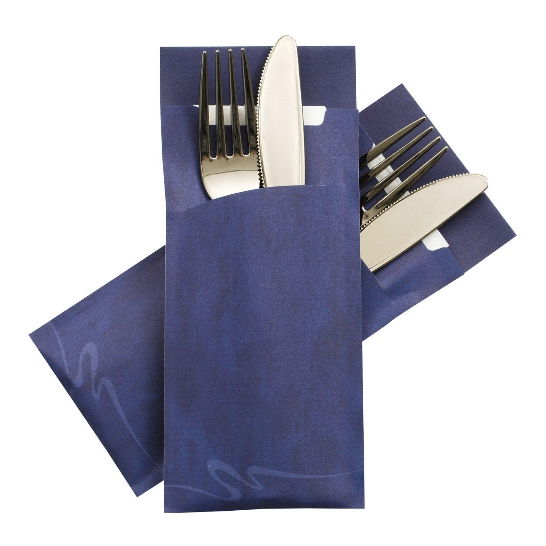Pochetto Bestecktaschen 200x85mm blau marmor. inkl. Serviette weiß, 520 Stk.