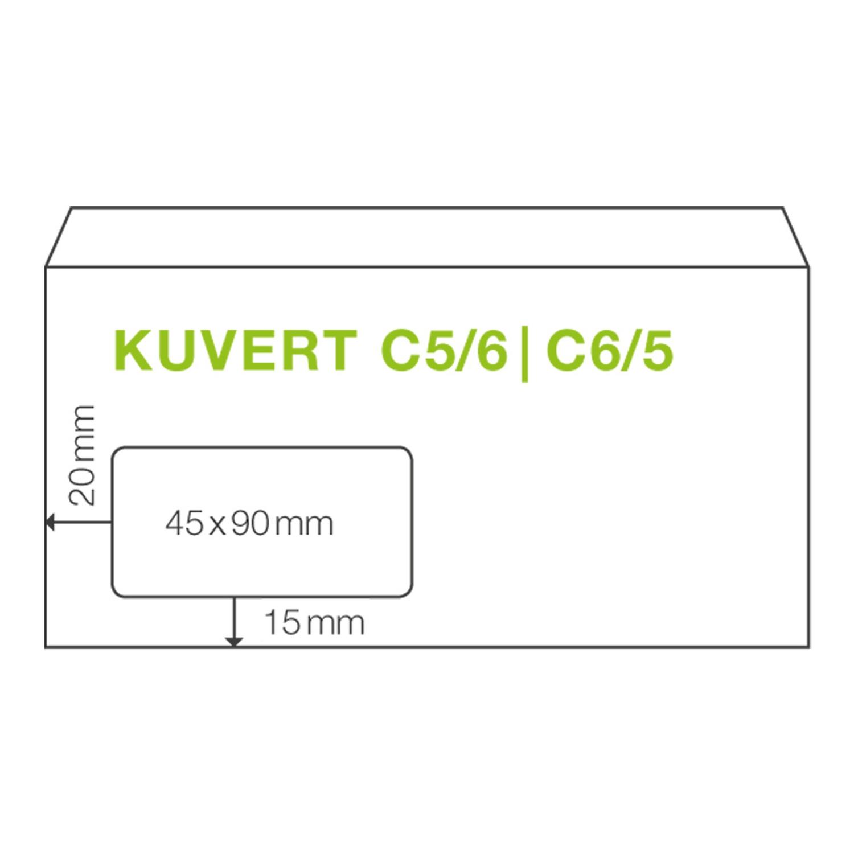 ÖKI Fensterkuvert C6/5 114x229mm weiß, 80 gr. Haftstreifen, 50 Stk.
