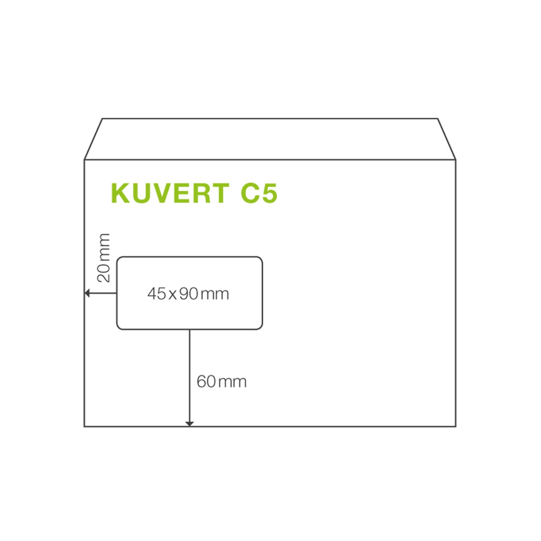 ÖKI Fensterkuvert C5 162x229mm weiß, 90 gr. Haftstreifen, 50 Stk.
