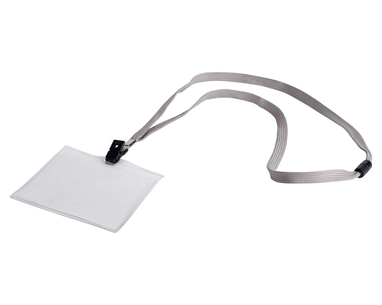 Textilband für Ausweishalter, Schlüsselband mit Ausweishülle, grau, 10 Stk.