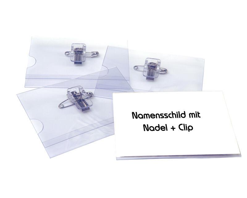 Pavo Ausweishalter, Namensschildhalter mit Kombi-Clip + Nadel, 55x86mm, 50 Stk.