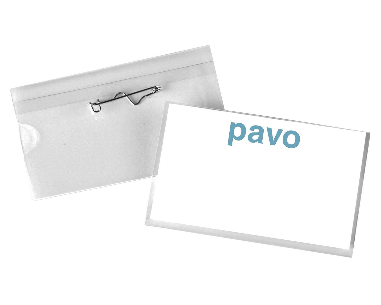 Namensschild PVC mit Sicherheitsnadel, 54x90mm, transparent, 50 Stk.