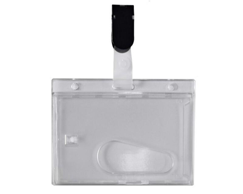 Ausweishülle, Kartenhülle, Namensschild aus PVC mit Clip, 60x90mm, 25 Stk.