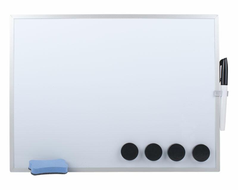 Whiteboard Magnettafel Memoboard, 40 x 30cm, inkl. 4 Magnete, weiß mit Alurahmen