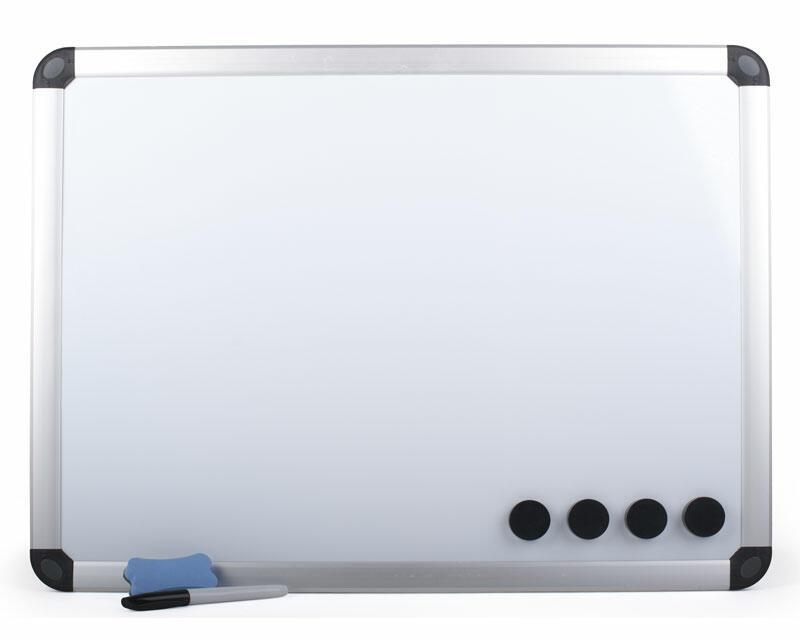 Whiteboard Magnettafel Memoboard, 60 x 45cm, inkl. 4 Magnete, weiß mit Alurahmen