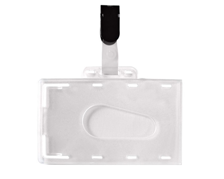 Ausweishülle, Kartenhülle, Namensschild aus PVC mit Clip, 54x86mm, 50 Stk.