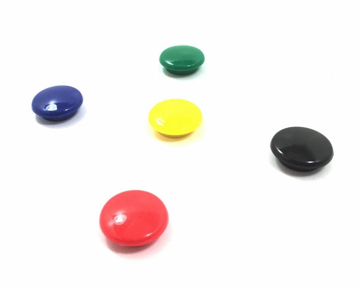 Haftmagnete rund 25mm in schwarz, rot, blau, grün, gelb, 5 Stk.
