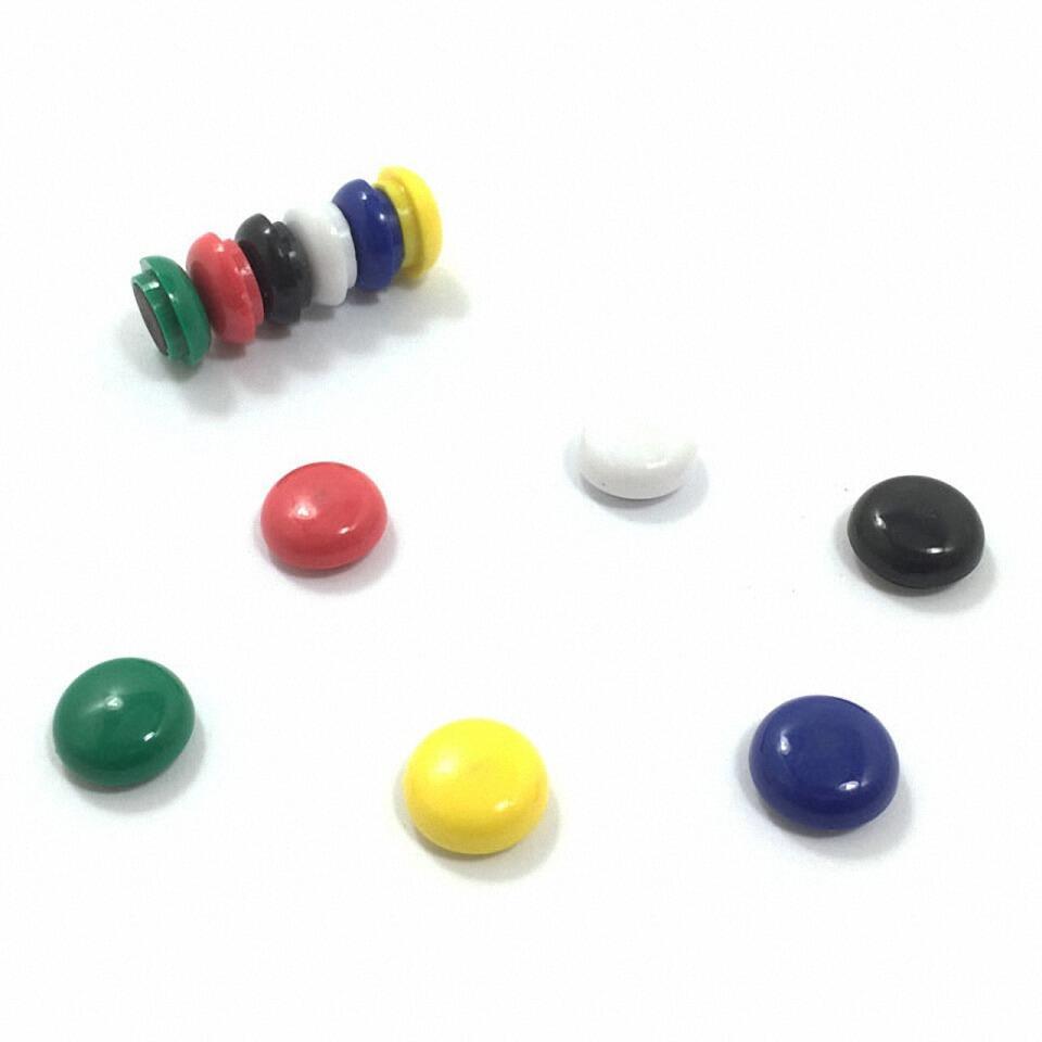 Haftmagnete rund 15mm in schwarz, rot, blau, grün, gelb, weiß, 12 Stk