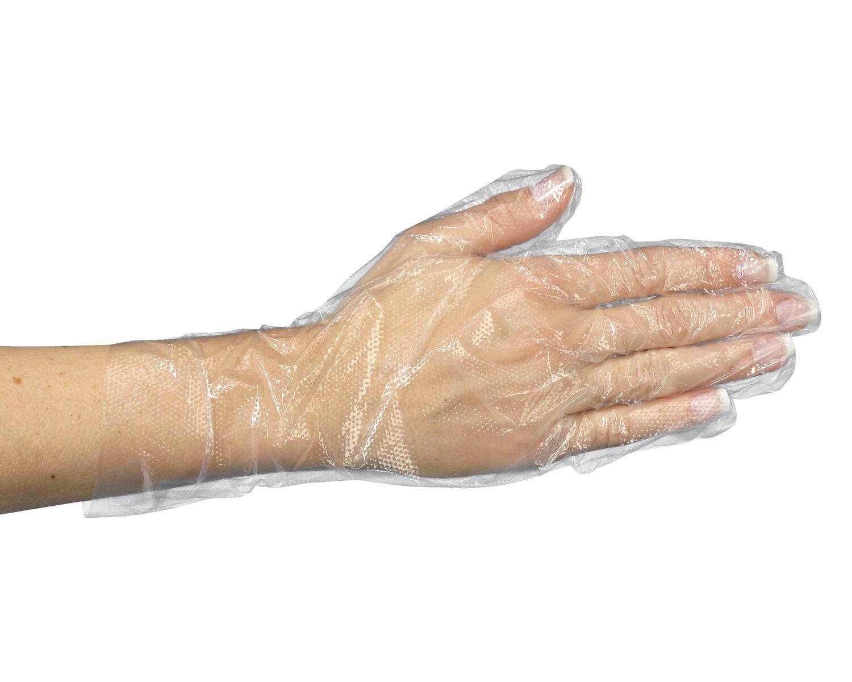 Einweghandschuhe aus PE transparent gehämmert in Spenderkarton Größe M, 500 Stk.