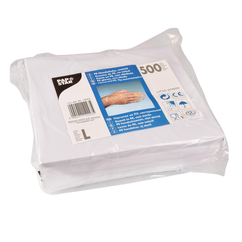Einweghandschuhe aus PE transparent gehämmert Größe L, 500 Stk.