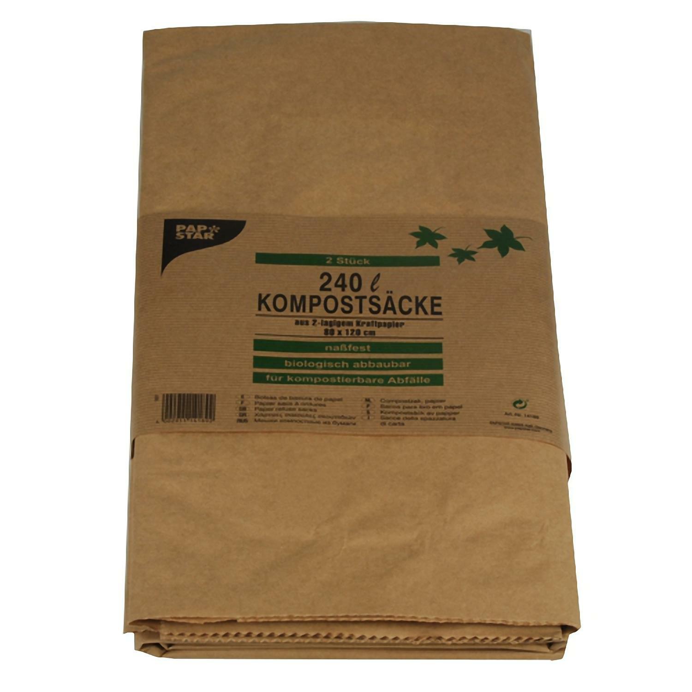 Kompostsäcke 2-lagiges Kraftpapier 240L 115 cm x 80 cm x 30 cm braun, 2 Stk.