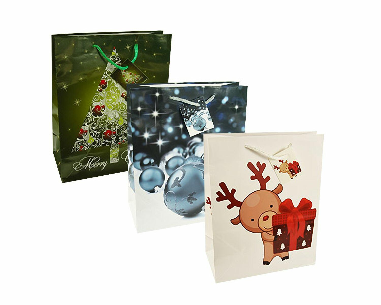 Weihnachtsgeschenktaschen Lacktragetaschen groß 32x26x13cm, 10 Stk.