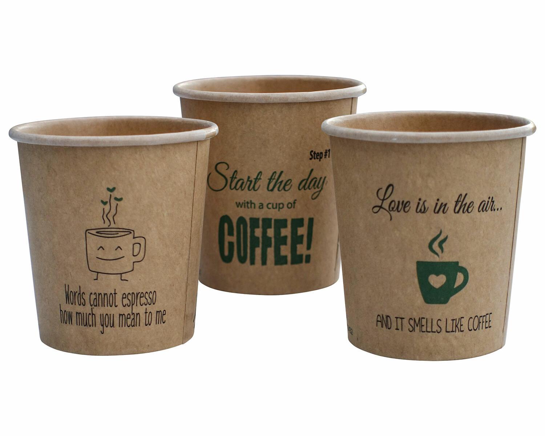 BIO Heißgetränkecher CoffeeToGo Silly Times 100ml 100% Reycling Fair, 50 Stk.