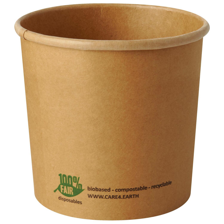 Bio-Suppenbecher aus Pappe rund 760 ml braun  biologisch abbaubar, 25 Stk.
