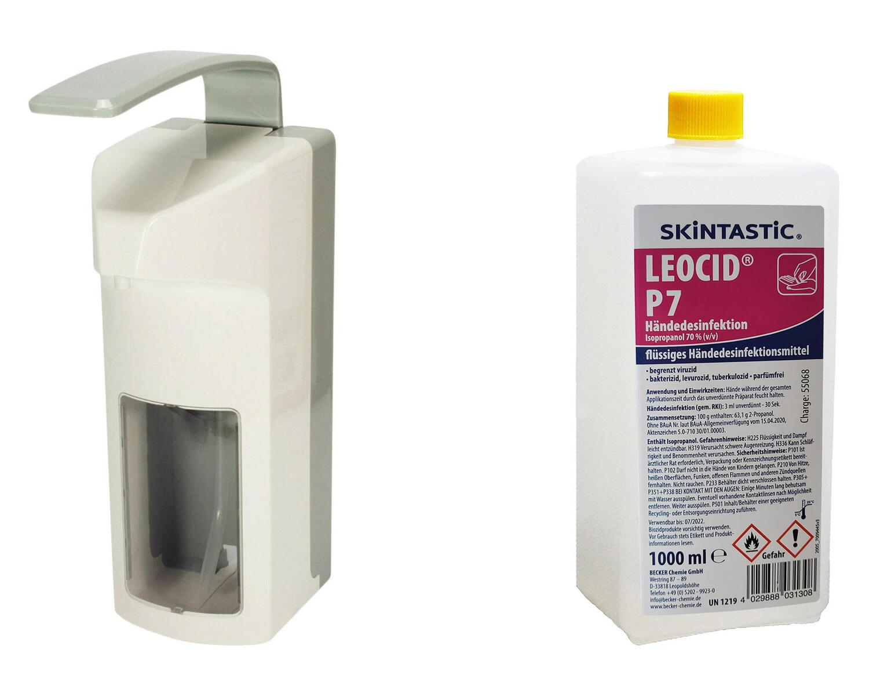 Wandspender weiss 1000 ml mit Langarmhebel und 1 Liter Händedesinfektion
