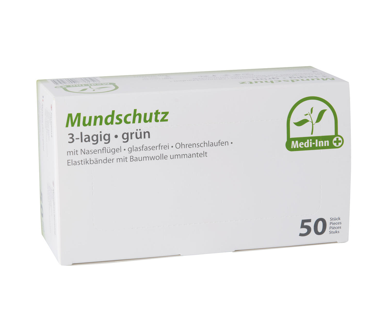 Mundschutzmaske 3-lagig EN 14683 Typ II 9 x 17,5 cm mit Nasenbügel grün, 50 Stk.