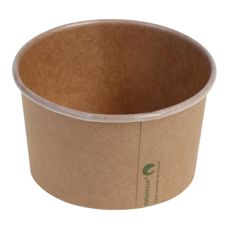 Eisbecher Pappbecher Kraft mit Biobeschichtung 360 ml Ø 105mm braun,  50 Stk.