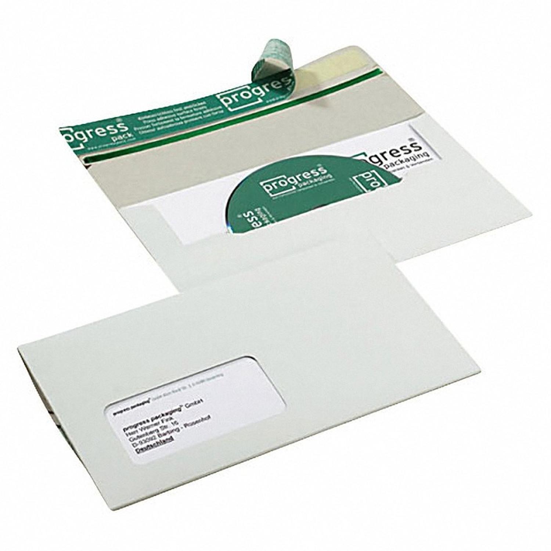 CD/DVD/BLURAY Mailer, DIN lang, für 1 Disk, SK-Verschluss, Sichtfenster rechts