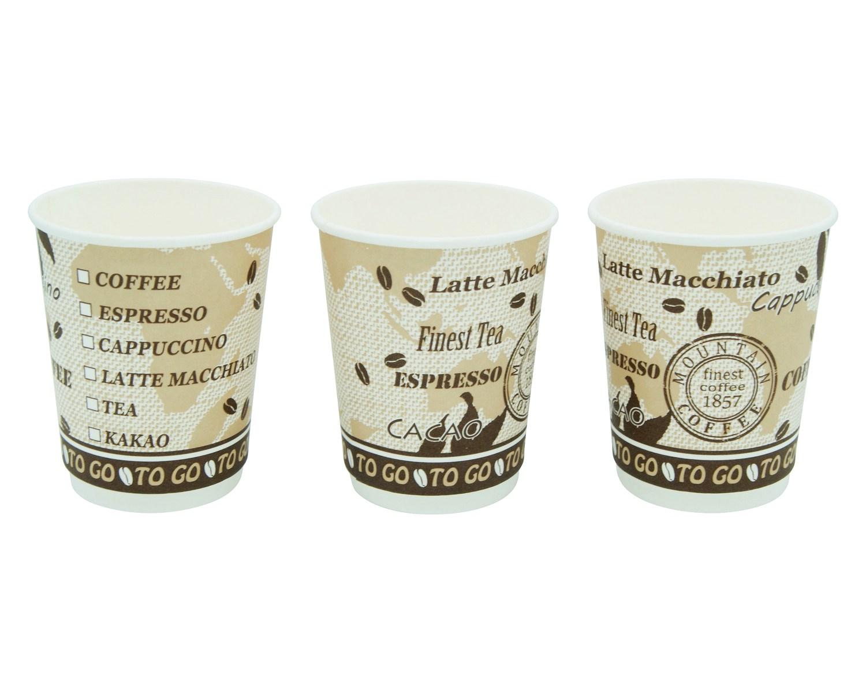 Premium Kaffeebecher Doppelwand, Coffee to go, beschichtet, 200 ml,  35 Stk.