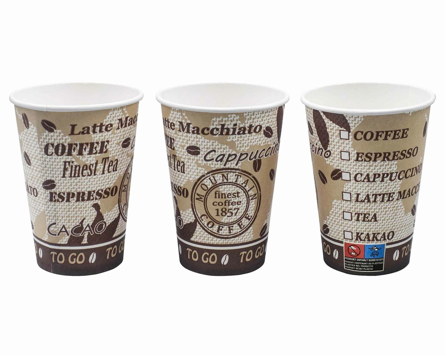 Automatenbecher Kaffeebecher 80mm Ø  Coffee Mountain 300 ml  75 Stk.
