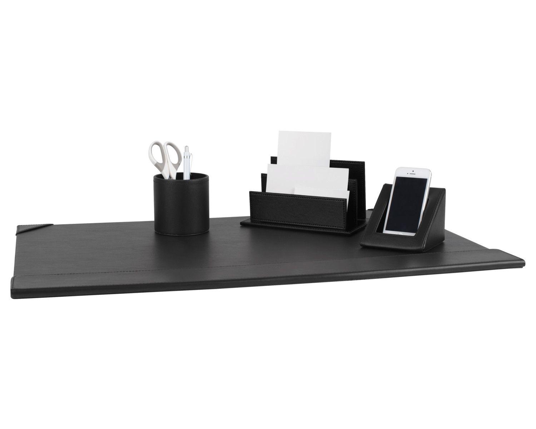 PAVO Premium Büroset Schreibtischset schwarz Kunstleder 70x45cm schick 4-teilig