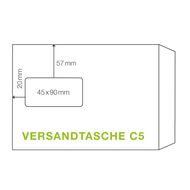 ÖKI Fenstertasche C5T 162x229mm weiß, 90 gr. Haftstreifen, 10 Stk.