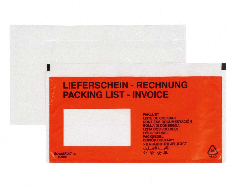 DOCUFIX Dokumententaschen *Lieferschein/Rechnung*, DIN Lang 240x115mm, 1000 Stk.
