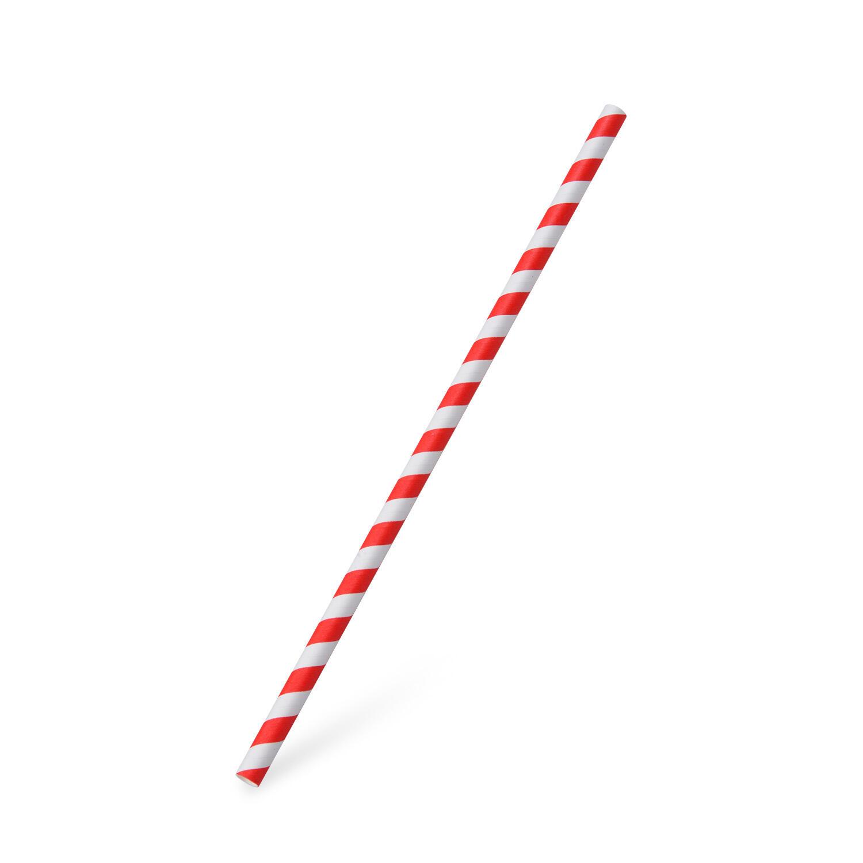 Papiertrinkhalme JUMBO rot gestreift 250 mm Ø 8 mm, 100 Stk.